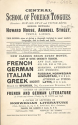 Advert for the Central School of Foreign Tongues